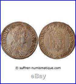 Louis XIV 1/2 Ecu Argent A La Meche Longue 1647 H La Rochelle