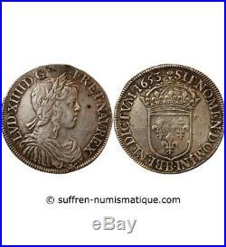 Louis XIV 1/2 Ecu Argent A La Meche Longue 1653 B Rouen