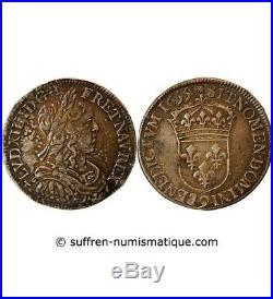 Louis XIV 1/2 Ecu Argent A La Meche Longue 1655 9 Rennes