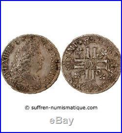 Louis XIV 1/2 Ecu Argent Aux Huit L 1692 A Paris R2