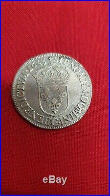 Louis XIV 1/2 Ecu Meche Longue 1653 G Poitiers Ref53183