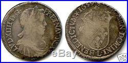 Louis XIV 1/2 Ecu Meche Longue 1659 L Bayonne Tres Rare