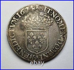 - Louis XIV 1/2 Écu à la cravate 1674 A à la tour