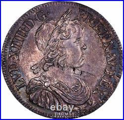 Louis XIV 1/2 Écu à la mèche courte 1645 A Paris SUP