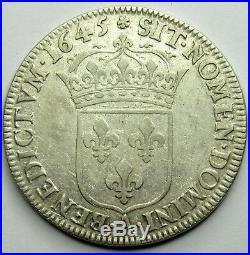 - Louis XIV 1/2 Ecu à la mèche courte 1645 A Rose