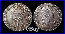 Louis XIV 1/2 Ecu à la mèche longue 1647H (La Rochelle) Argent 13.60gr