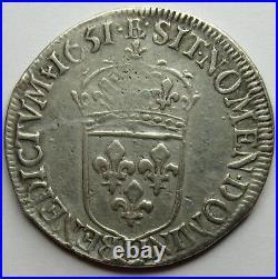 - Louis XIV 1/2 Ecu à la mèche longue 1651 L Bayonne