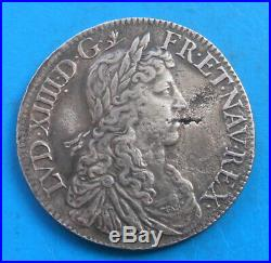Louis XIV 1/2 demi écu au buste juvénile 1662 A Paris lis, RARE