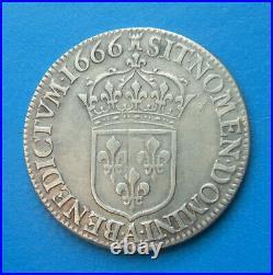 Louis XIV 1/2 demi écu au buste juvénile 1666 A Paris, RARE MILLESIME