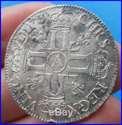 Louis XIV 1/2 demi écu aux huit 8 L, 1er type, 1691 A Paris, flan neuf