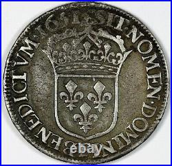 Louis XIV 1/2 écu à la mèche longue 1651 F Angers