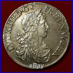 Louis XIV 1/2 écu aux Buste Juvénile 1er 1662 B Poinçon Rouen SUP