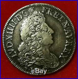 Louis XIV 1/2 écu aux huit L 1690 D Lyon ARGENT RARE