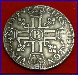 Louis XIV 1/2 écu aux huit L 1691 B Rouen ARGENT RARE