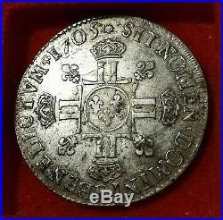 Louis XIV 1/2 écu aux huit L 2e type 1705 B Rouen ARGENT RARE! TTB