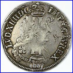 Louis XIV 1/2 écu aux palmes flan réformé 1694 G Poitiers