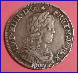 Louis XIV 1/4 D'ecu A La Meche Longue 1652 F Angers G 140 Rare