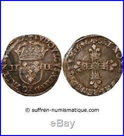 Louis XIV 1/4 Ecu Argent 1646 T Nantes