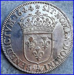 Louis XIV 1/4 Quart d'écu 1644 A rose