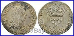 Louis XIV 1/4 Quart d'écu argent Mêche Longue 1655 9 RENNES RR TTB