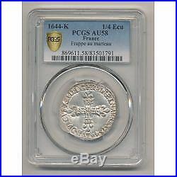 Louis XIV 1/4 écu 1644 K Bordeaux PCGS AU58