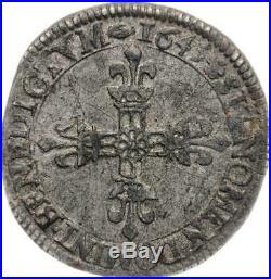 Louis XIV 1/4 écu de face 1645 N Montpellier