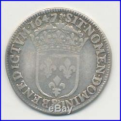 Louis XIV 1/4 écu mèche longue 1647 Aix