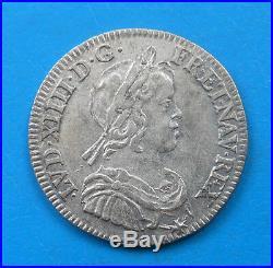 Louis XIV 1/4 quart d'écu 1644 A point, BEL ETAT