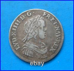 Louis XIV, 1/4 quart d'écu à la mèche courte 1644 A rose Paris