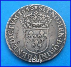 Louis XIV 1/4 quart d'écu mèche longue 1678 A coeur Paris