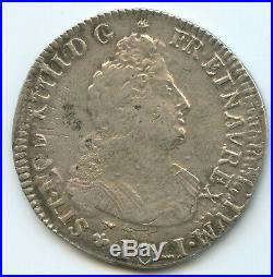 Louis XIV (1643-1715) 1/2 Ecu aux 8 L 1704 D Lyon