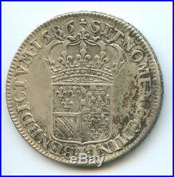 Louis XIV (1643-1715) 1/2 Ecu de Flandre 1686 W Lille