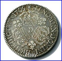 Louis XIV 1643 1715. Demi-écu Aux Trois Couronnes 1709 D Lyon. R1