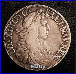 Louis XIV (1643-1715), Ecu Buste juvénile 1672 L Bayonne