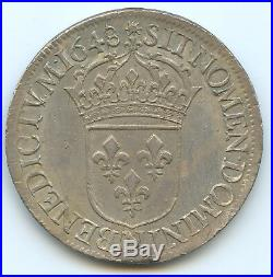 Louis XIV (1643-1715) Ecu à la mèche longue 1648 N Montpellier Qualité