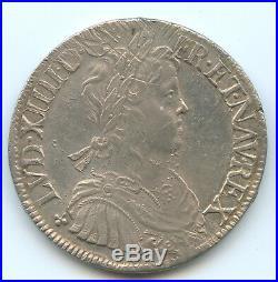 Louis XIV (1643-1715) Ecu à la mèche longue 1653 Rennes