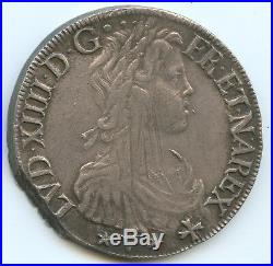 Louis XIV (1643-1715) Ecu de Nvarre à la mèche longue 1656 Saint-Palais