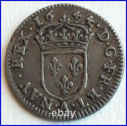 Louis XIV (1643-1715) Vingt-quatrième d'écu argent, à la mèche courte 1644 Pa