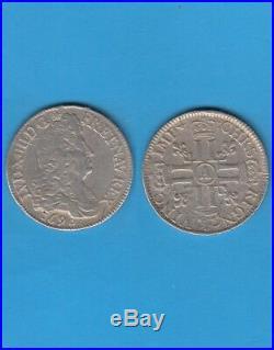 Louis XIV (1643-1715) écu aux 8 L monnaie réformée 1690 A Paris