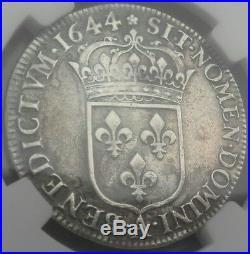 Louis XIV Demi 1/2 écu 1644 a Paris rose ttb+ argent