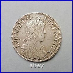 Louis XIV Demi Ecu à la mèche longue 1652 X Amiens