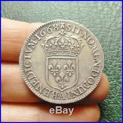 Louis XIV Demi Ecu au Buste juvénile 2e Type 1668 A Paris