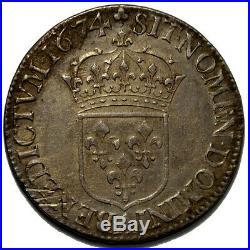Louis XIV, Demi écu à la cravate 1674 A
