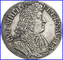 Louis XIV Demi-ecu à la cravate dit du parlement 1679 Aix-en-Provence rare SUP