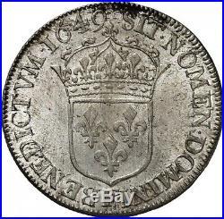 Louis XIV Demi-ecu à la mèche longue 1649 Angers PCGS MS63 Splendide rare état
