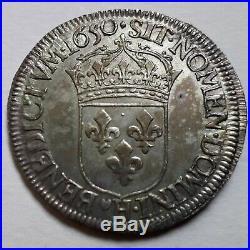 Louis XIV Demi-écu à la mèche longue 1650 H La Rochelle Bel état