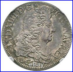 Louis XIV Demi-ecu aux Huit L 1690 Paris rf NGC MS62 Superbe