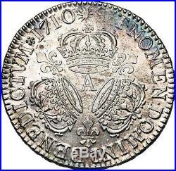 Louis XIV Demi-ecu aux trois couronnes 1710 Paris PCGS MS63 Splendide