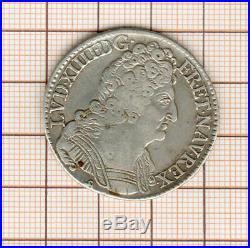 Louis XIV Demi écu aux trois couronnes 1714 B Rouen