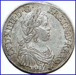 Louis XIV Ecu A La Meche Courte 1643 A Paris G. 201